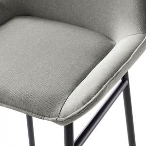 Set de 2 scaune de bar Broon - tesatura/metal - gri