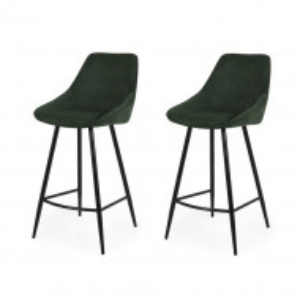 Set de 2 scaune de bar Lex, metal/plastic, verde, 108 x 47 x 52 cm