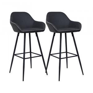 Set de 2 scaune de bar Mabel, gri/negre, 101 x 51 x 51 cm