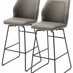 Set de 2 scaune de bar Macapa, piele sintetica/tesatura /otel, gri