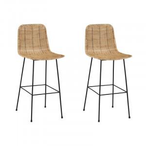 Set de 2 scaune de bar Moffitt, maro/negru, 100 x 43 x 54 cm
