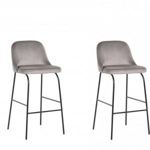 Set de 2 scaune de bar NEKOMA, catifea gri