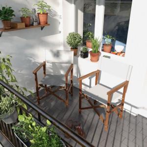 Set de 2 scaune din lemn masiv MIMO cu suport textil alb