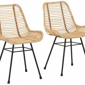 Set de 2 scaune Jucita, metal/ ratan, natur/negru, 45x48x87 cm
