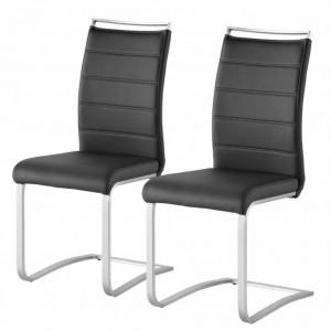 Set de 2 scaune Lezuza din piele sintetica/otel inoxidabil, negru, 42 x 102 x 56 cm