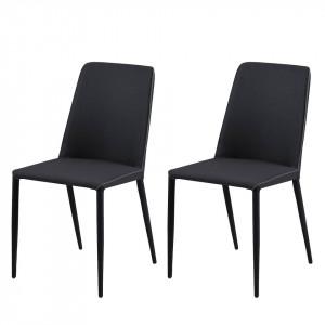 Set de 2 scaune Maredale tesatura/metal, gri antracit, 47 x 87 x 57 cm