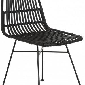 Set de 2 scaune ratan Costa, negru/negru