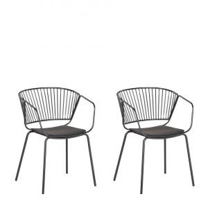 Set de 2 scaune Rigby, negru, 54 x 49 x 77 cm