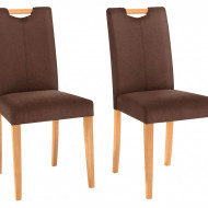 Set de 2 scaune Siena - tapitate - maro/lemn