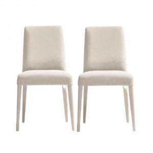Set de 2 scaune tapitate Cornish, alb, 86 x 48 x 58 cm