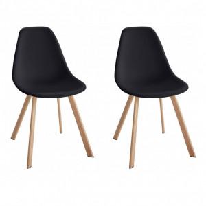 Set de 2 scaune Veneto, plastic/metal, negru/maro, 45 x 54 x 82 cm