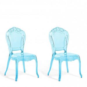 Set de 2 scaune VERMONT, albastru transparent
