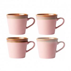 Set de 4 căni pentru capuccino, bej/roz, 12 x 9 cm