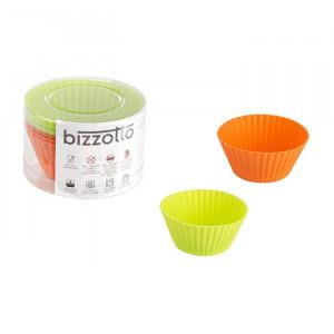 Set de 4 forme pentru briose, silicon, portocaliu/verde, 7 x 7 x 3,2 cm