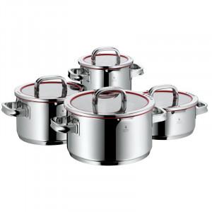 Set de 4 oale de gatit WMF, oțel inoxidabil Cromargan® 18/10, capace cu 4 funcții pentru gătit cu apă scăzută și turnare controlată