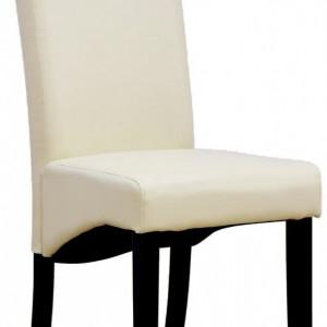 Set de 4 scaune de living Cambridge, piele sintetica crem, picioare lemn inchis