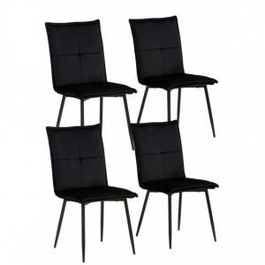 Set de 4 scaune Donna Meila, catifea /metal, negru, 59x48x93 cm