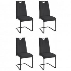 Set de 4 scaune Linea piele sintetica/metal, negru, 43 x 62 x 100 cm