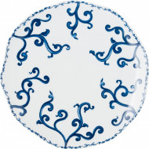 Set de 6 farfurii plate, albe/albastre, 27 cm