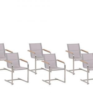 Set de 6 scaune de gradina Cosoleto, argintiu/bej, 56 x 55 x 85 cm