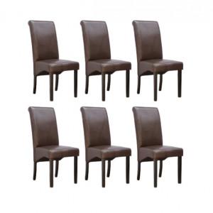 Set de 6 scaune de living Cambridge, piele sintetica maro, picioare lemn inchis