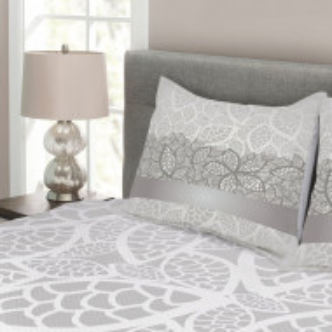 Set de cuvertura de pat si 2 fete de perna Fifield, gri, 220 x 220 cm