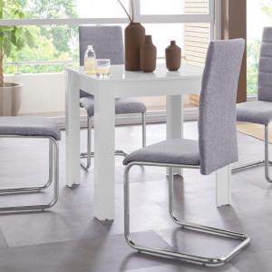 Set de living Lynn/Doris 4 scaune si 1 masa, alb/gri