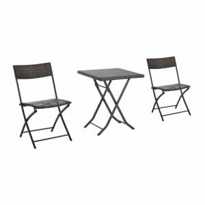 Set de masa si 2 scaune de gradina by Dakota Fields, negru