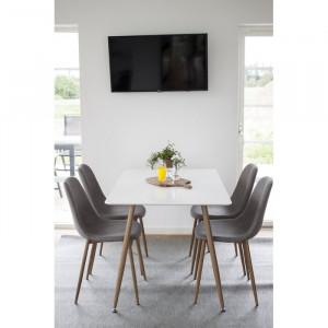 Set de masa si 4 scaune Australis, alb/gri/maro
