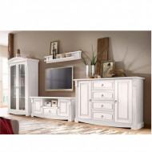 Set de mobilier pentru living Anna, 4 piese, lemn masiv, alb