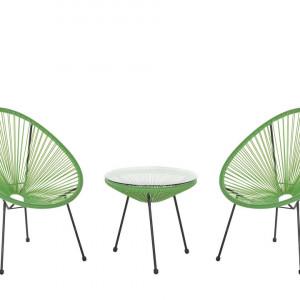 Set de o masa si 2 scaune de gradina Acapulco II, verde/negru