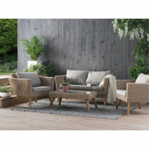 Set lounge Elbeni, lemn masiv/ratan, gri/taupe