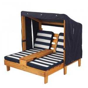 Sezlong dublu pentru copii cu acoperis, lemn, maro/albastru, 88,9 x 92,96 x 88,9 cm