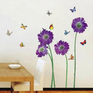 Sticker de perete flori mov