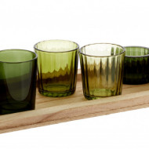 Suport pentru lumanari Wibke, maro/verde, 50 x 11 x 14 cm