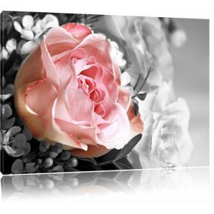 """Tablou """"Buchet de bujori"""", roz/gri, 80 x 120 cm"""