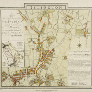 Tablou canvas Map of Islington London by Edward and Benjamin Baker