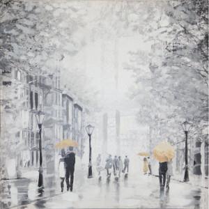 Tablou canvas Rainy Manhattan, 52 x 52 x 3 cm