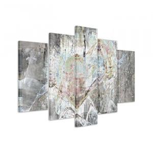 Tablou Sculptură abstractă 1353, 5 piese, pamza/lemn, 100 x 150 x 2 cm