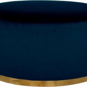 Taburet catifea Home Affaire, 80 x 80 x 40 cm, albastru/auriu