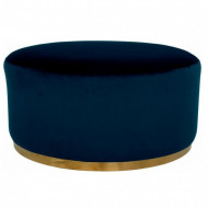Taburet Home Affaire, catifea albastru/auriu, 80 x 80 x 40 cm