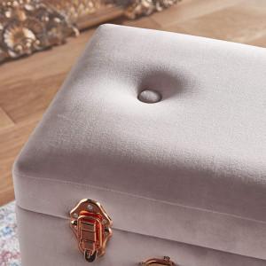 Taburet tip valiza vintage cu spatiu de depozitare , catifea , roz