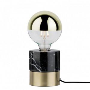 Veioza Vala aluminiu / marmura, 1 bec, negru/auriu, diametru 11 cm, 230 V