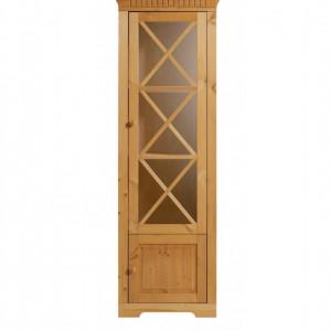 Vitrina Lisa din lemn masiv de pin/metal/MDF, maro, 60 x 35 x 180 cm