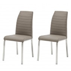 Set de 2 scaune Levittown, piele sintetica, crem