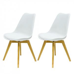 Set de 2 scaune Bess - picioare din stejar/sezut de plastic