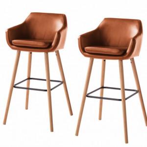Set de 2 scaune de bar Nicholas I din piele sintetica maro vintage