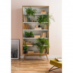 Biblioteca Arlo, lemn masiv/PAL, maro/alb, 207,5 x 101 x 40 cm