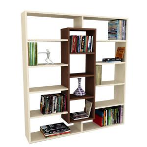 Biblioteca, crem/maro, 135,7 x 125 x 22 cm