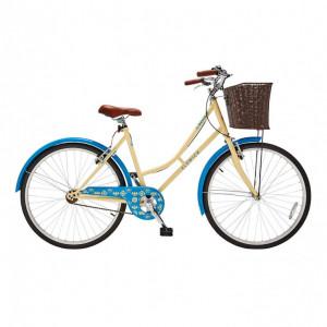 Bicicleta de dama cu cosulet pentru cumparaturi Elswick Desire , crem / albastru